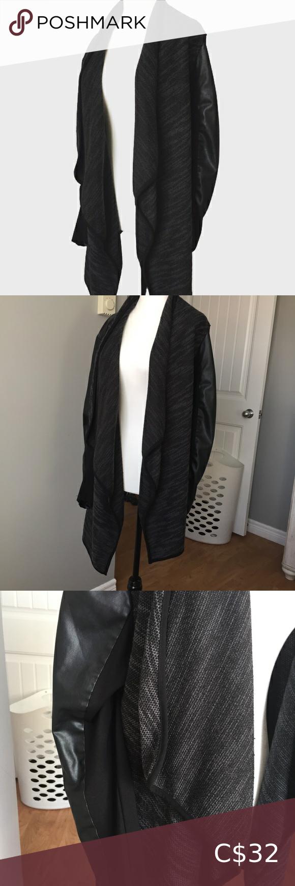 Amanda Green Cardigan With Leather Sleeves