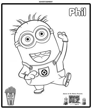 minion phil coloring page no show coloring pages for kids - Banana Coloring Page 2