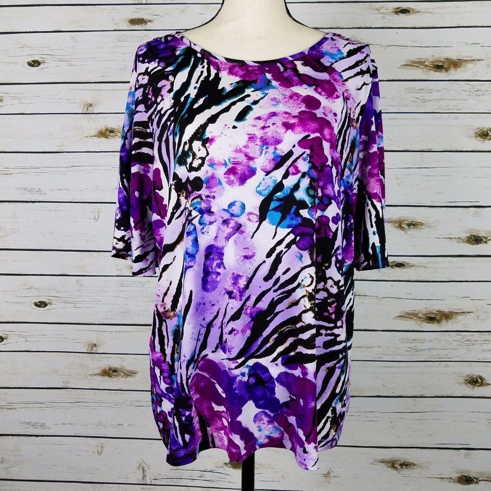 Susan Graver Top Large Womens Purple Floral Liquid Knit Split