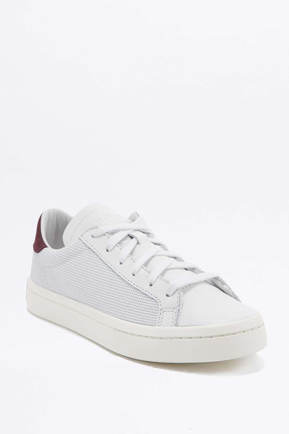 adidas Originals Court Vantage White and Burgundy Trainers
