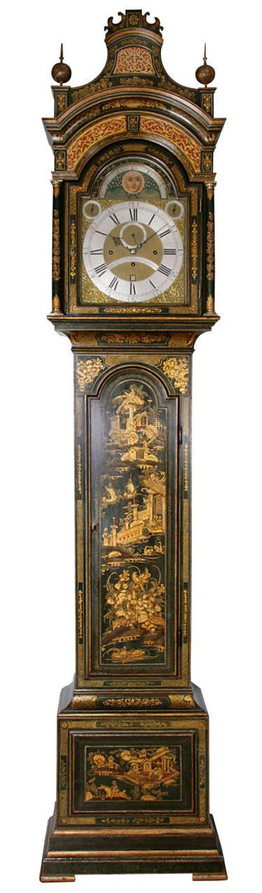 Antique Lacquered Longcase Clock by John Monkhouse, London
