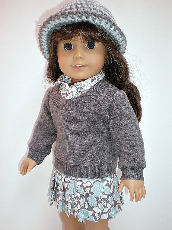 Gray Sweater Fooler Pleated Skirt Crocheted Hat 18 inch