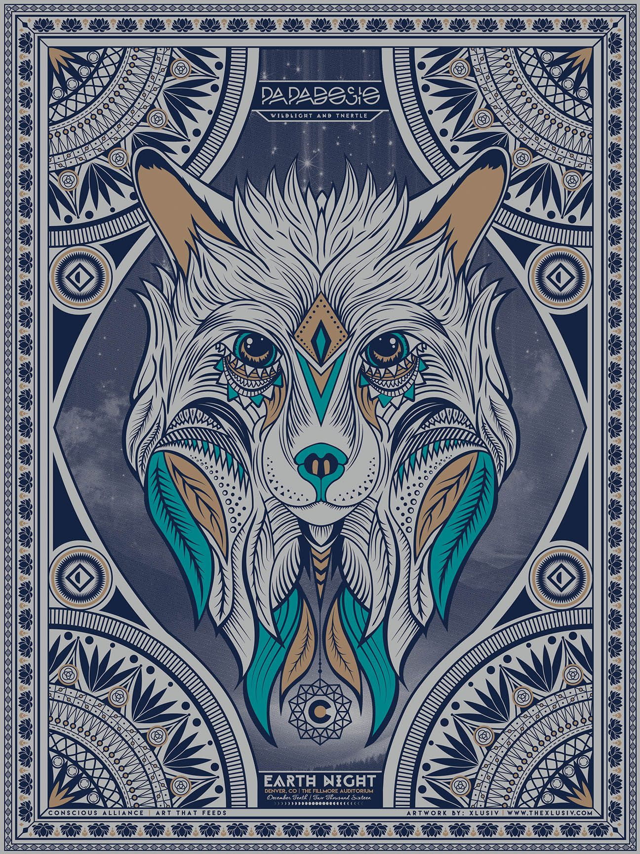 Screen Print Poster. Collaboration with Papadosio, Conscience Alliance, and XLUSIV to bring you this 3 color screen print poster. 18x24  Sacred Geometry Illustration with a Wolf and artistic border. Starry Night and trees in the halftone images. Leaves and feathers in the wolfs face.