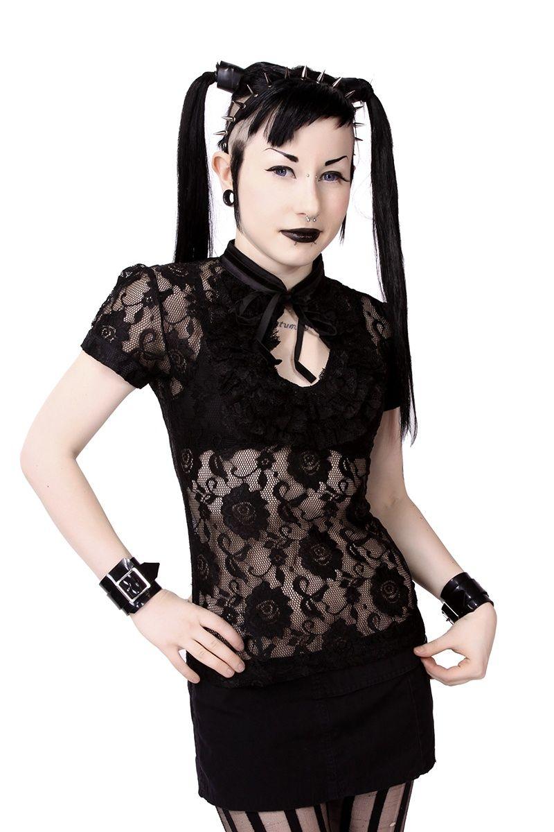 26925c7e7fa26 Keyhole Black Rose Lace Top :: VampireFreaks Store :: Gothic ...