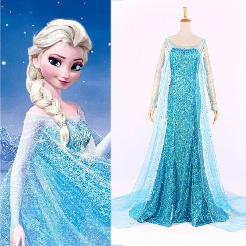 details zu erwachsene frozen princess elsa kost m ball party abendkleid verkleidung damen elsa. Black Bedroom Furniture Sets. Home Design Ideas