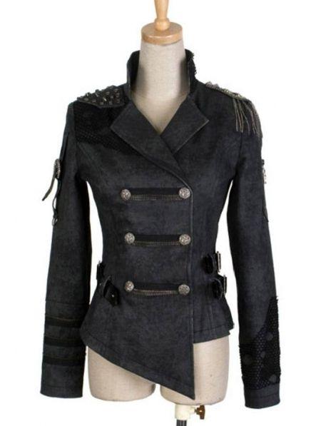 black-short-gothic-military-jacket-for-women-and-men.jpg (450×597 ...