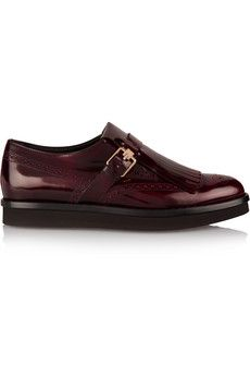 Tod's Fringed glossed-leather platform brogues | NET-A-PORTER