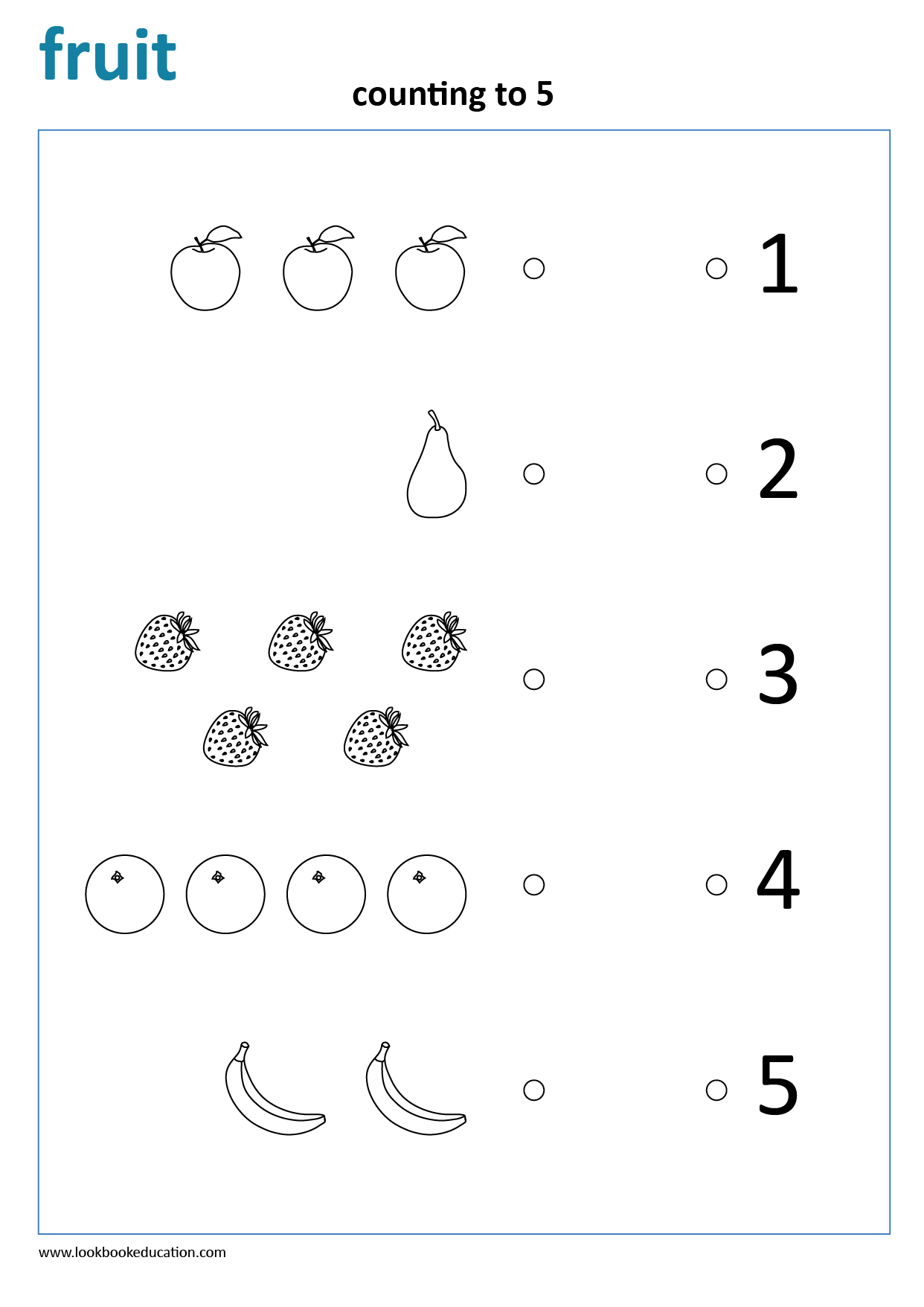 Worksheet Count And Match Fruit In