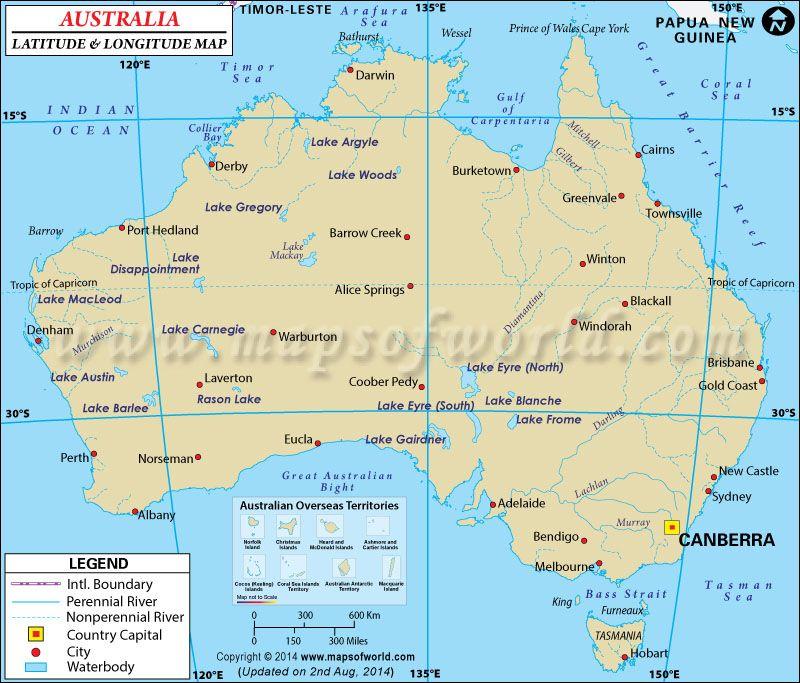 Australias latitude and longitude are 27 00 s and 133 00 e australia latitude and longitude map lat long map of australia gumiabroncs Gallery