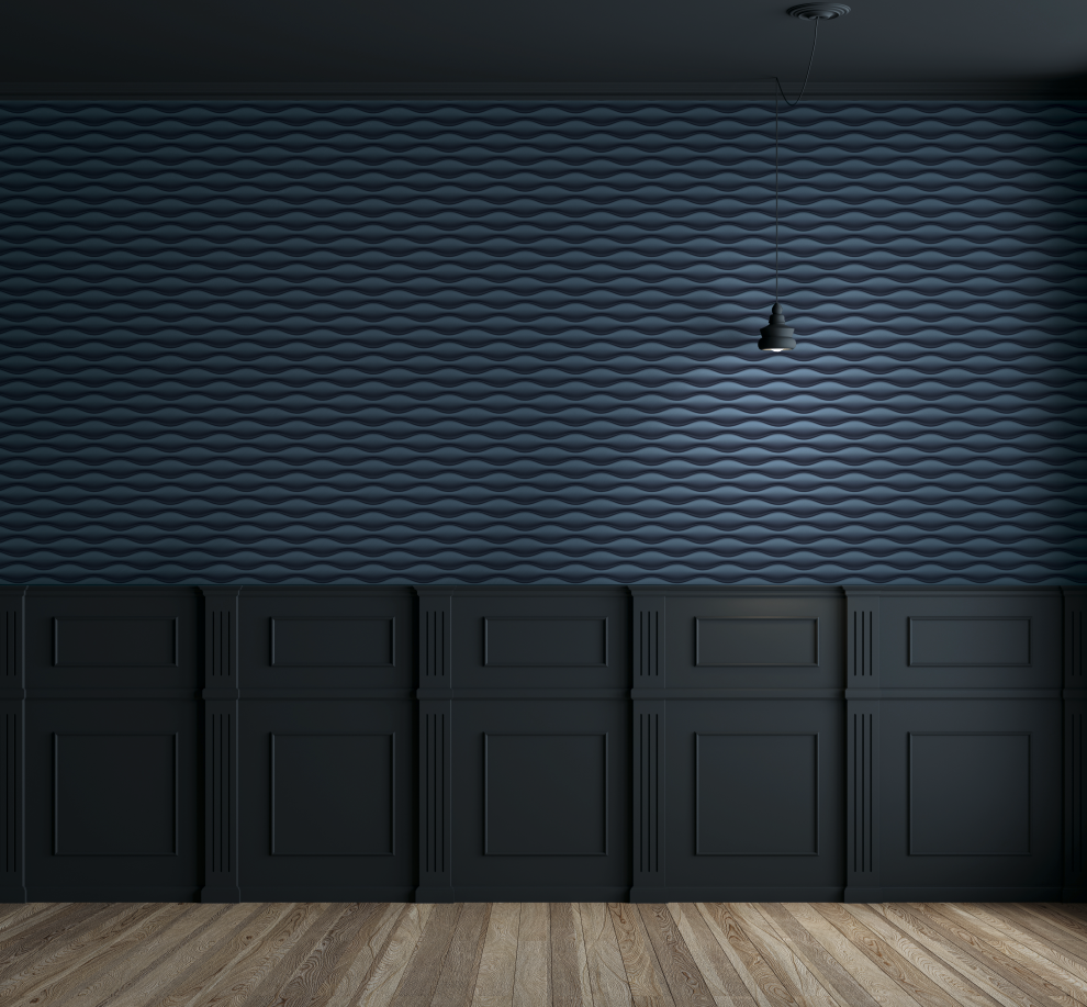 "Come Allestire Un Garage dramatic navy blue ""oval wall"" wallcovering. 3d collection"