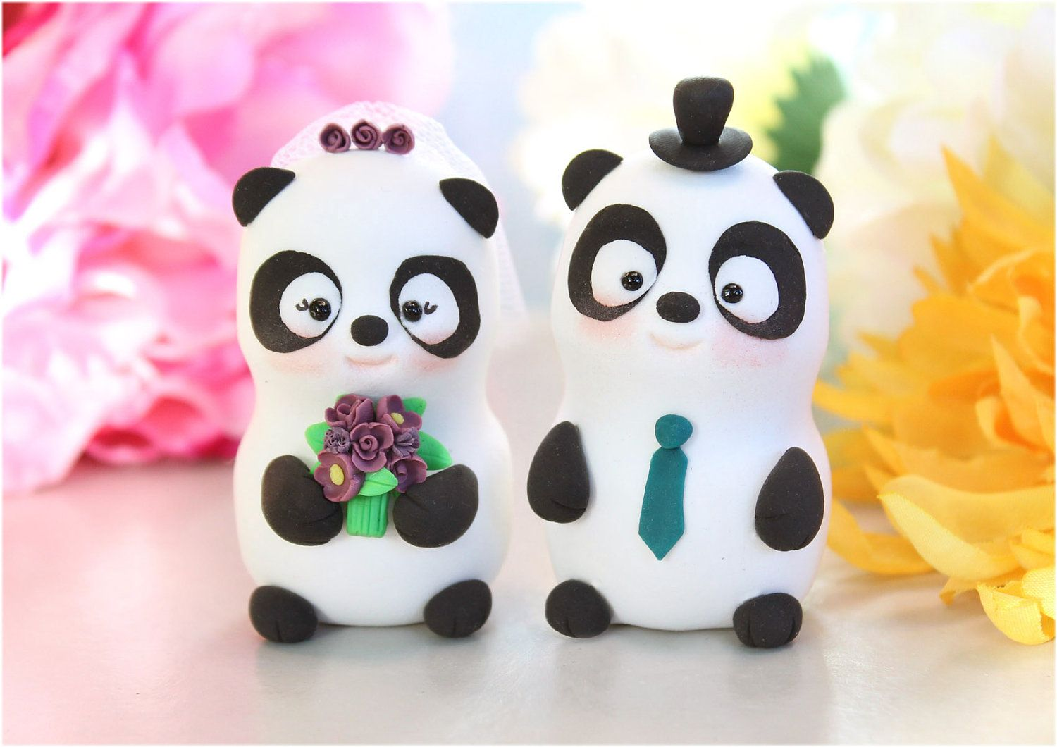Panda unique wedding cake toppers bride and groom
