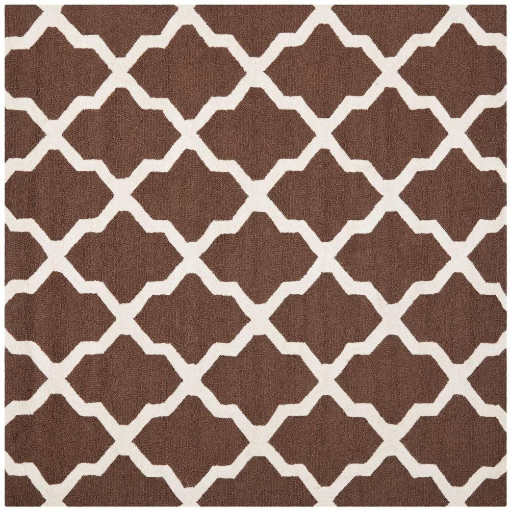Cambridge Dark Brown/Ivory 4 ft. x 4 ft. Square Area Rug
