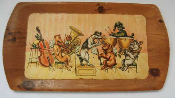 Dog band wooden tray by HappyCloudImports on Etsy, $22.00