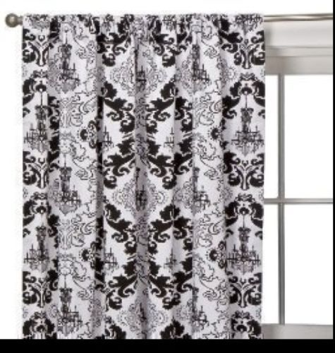 Xhilaration Black White Chandelier Window Panel 54 X 84 Ebay Curtains With Blinds Curtains Curtain Decor
