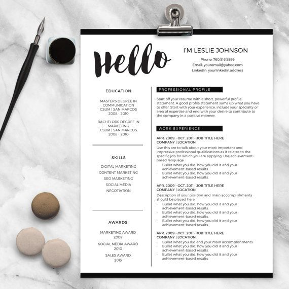 Resume Template for MS Word and Pages HELLO 1  2 Page Resume - resume 1 or 2 pages