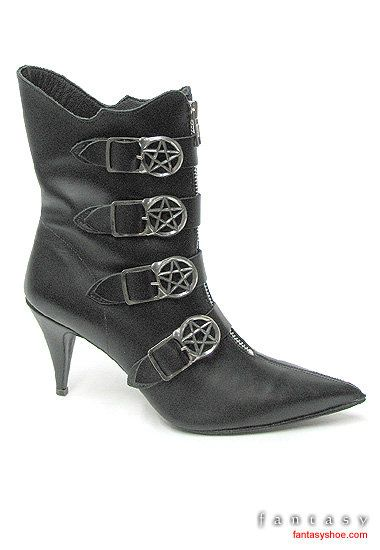 Witchy Ankle Boots with Penta Buckles