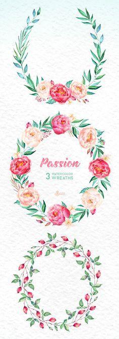Photo of Passion 3 Acquerelli ghirlande, clipart dipinti a mano, peonie, inviti matrimonio floreale, rosa, cartolina d'auguri, clipart fai da te, fiori, biancospino