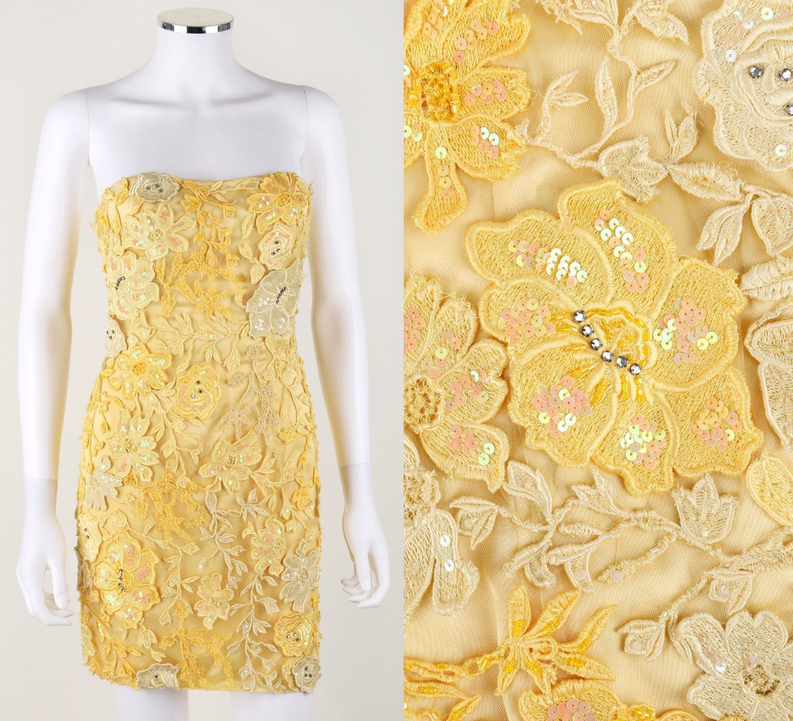 Cool awesome sherri hill yellow floral embellished strapless short