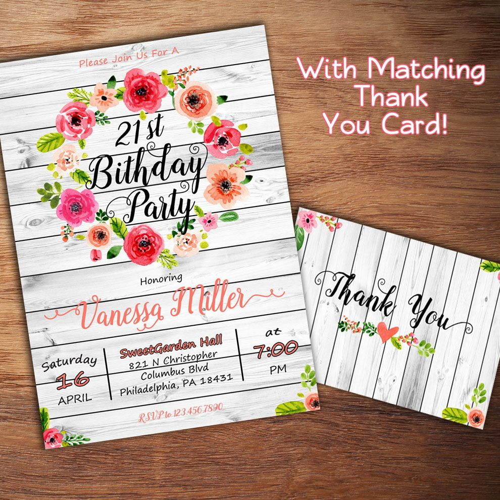 Rustic Birthday Invitation,16th, 21st, 30th Birthday Invitation ...