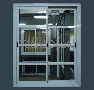 Puerta ventana balc n aluminio blanco repartido horizontal for Modelos de puertas y ventanas de aluminio