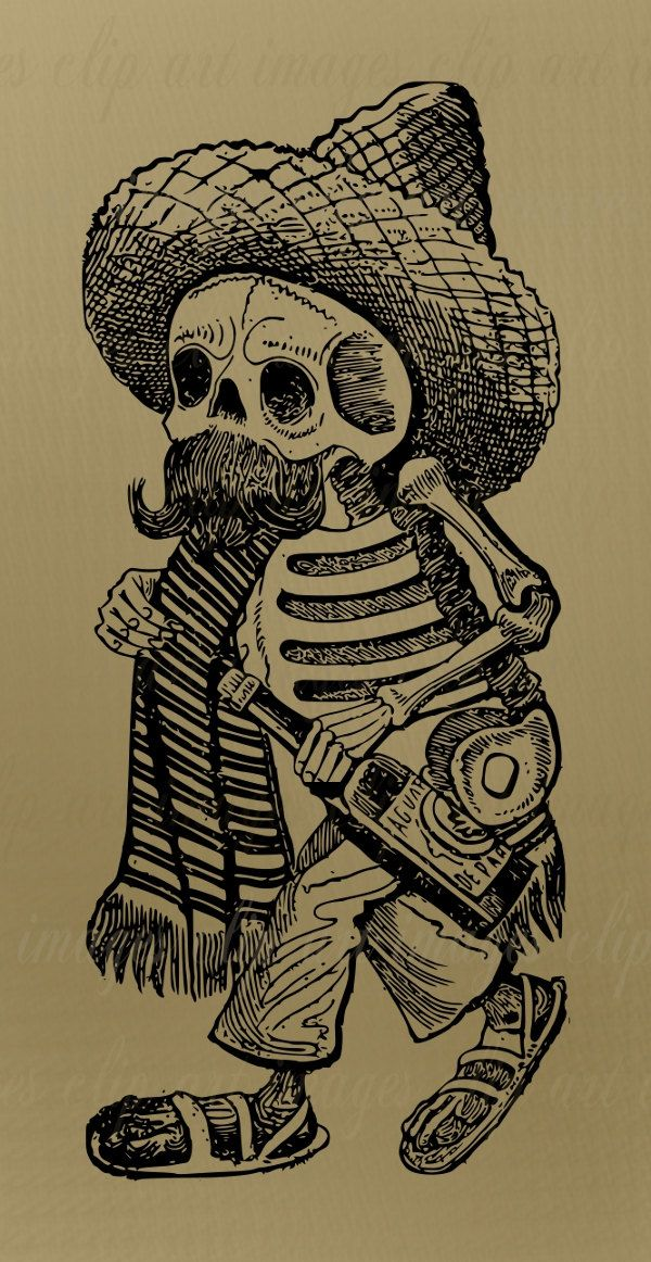 Day Of The Dead Clip Art Royalty Free Dia De Los Muertos Famous Hard To Find Vintage Halloween November 2 Skeleton Mustache 1 Skull Art Aztec Art Art