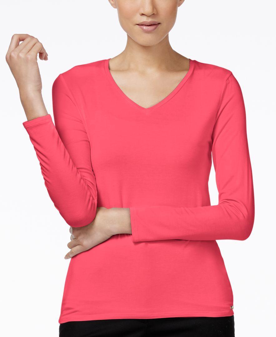Calvin Klein Long-Sleeve V-Neck T-Shirt