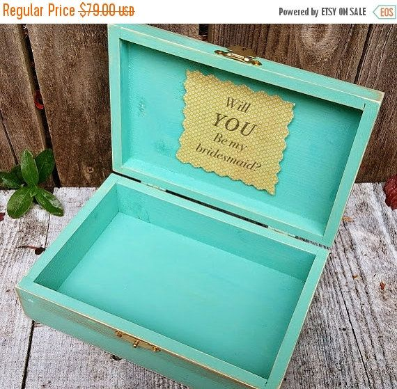 WEDDING SALE Will You Be My Bridesmaid Boxes - Set of 3 Boxes in Teal, Aqua, Mint over Gold - Weddings