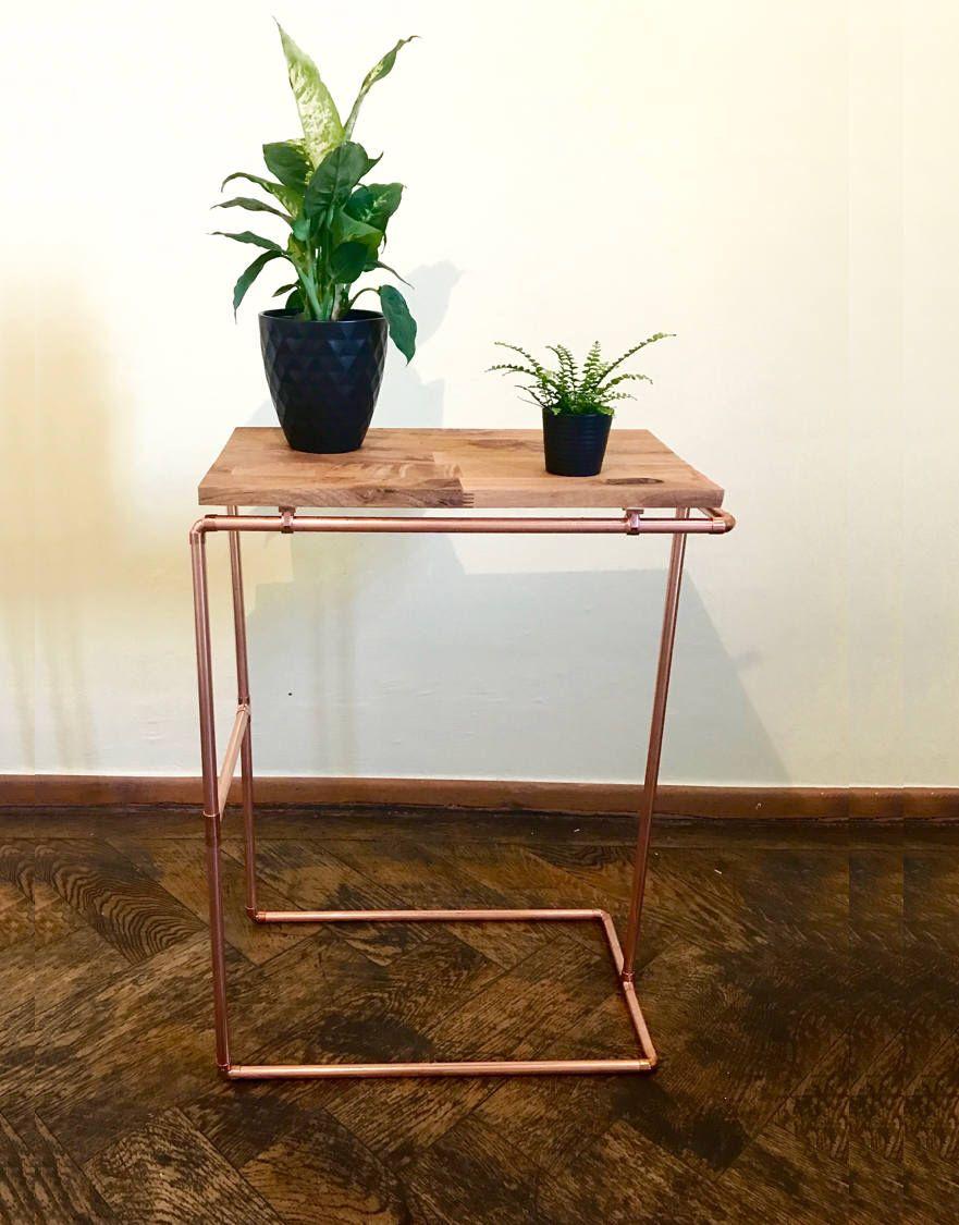 sidetable nightstand copperpipe copper wood table oak shelf
