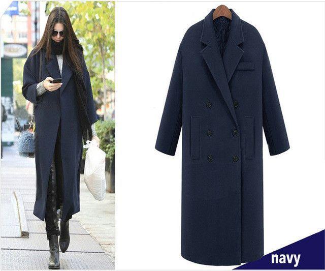 Fall Winter 2016 Women's Classic Oversize Wool Coat Femme Cashmere Maxi Long Jacket Outwear Black Manteau Slim Trench Peacoat