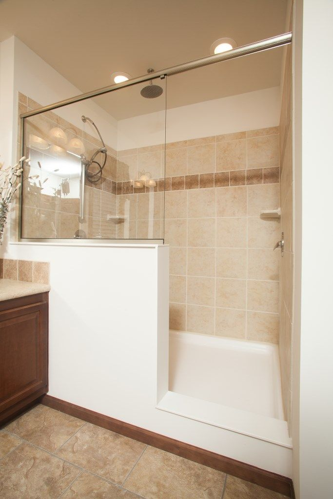 4 X 6 Shower Design. Walk in Ceramic Tile Shower featured our Aurora Elite AW455A  Classic Ranch Modular Pennwest Homes Magnifique LX128A Cambridge Collection