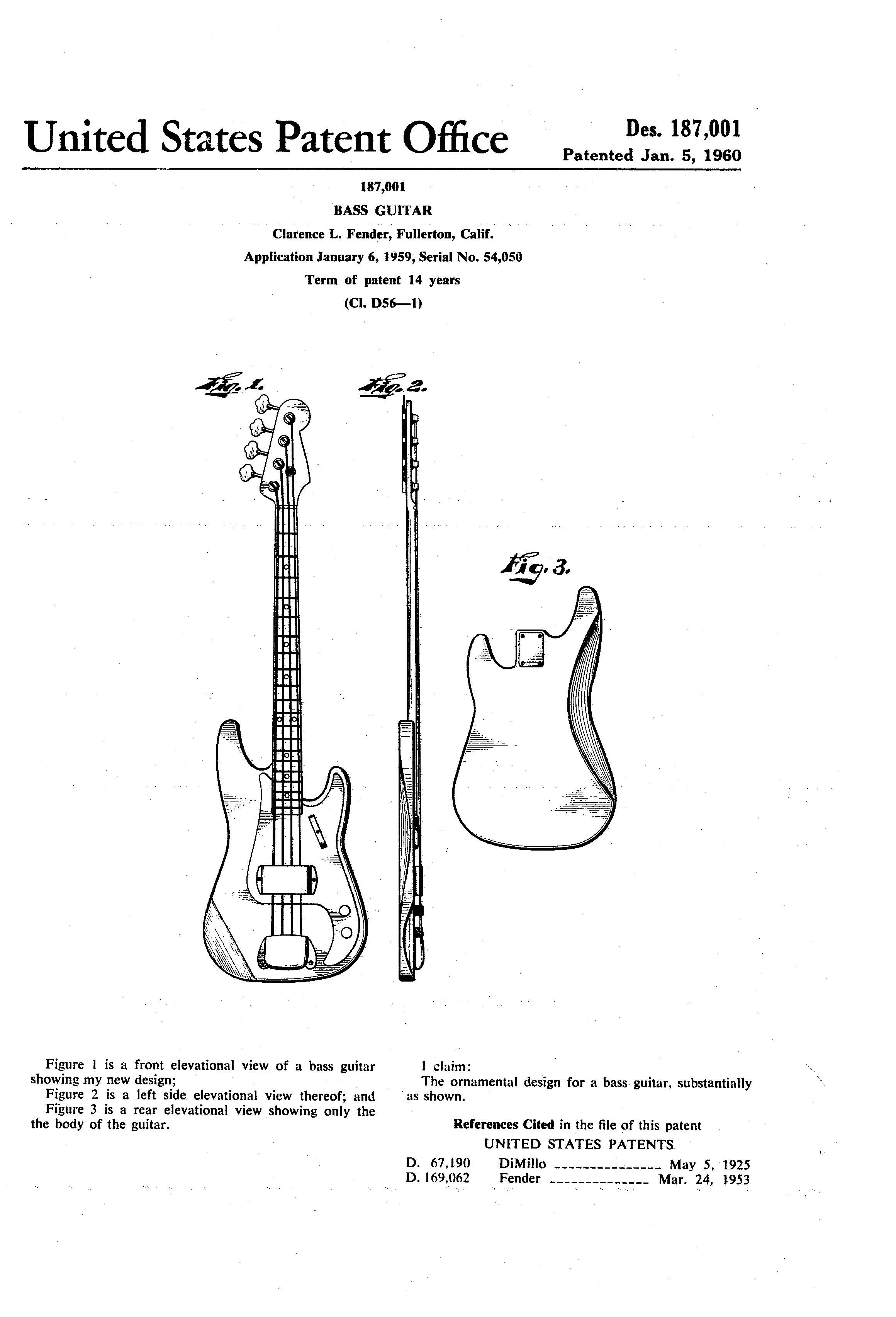 medium resolution of original fender precision bass patent the first successful electric bass guitar debuted in 1960