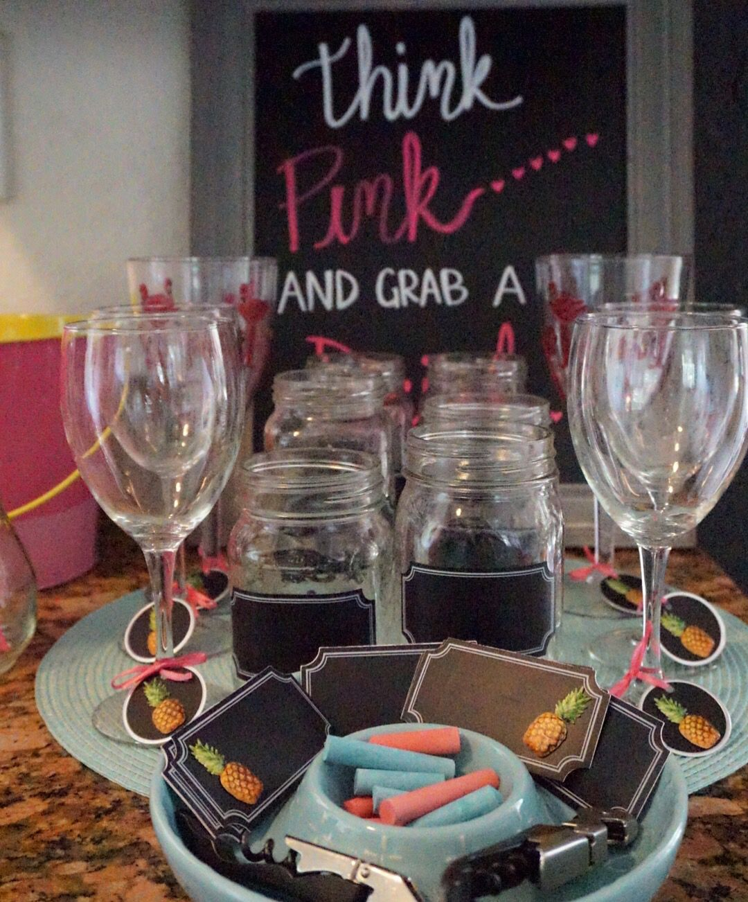 Think pink and grab a drink. Drink station. My crafty side