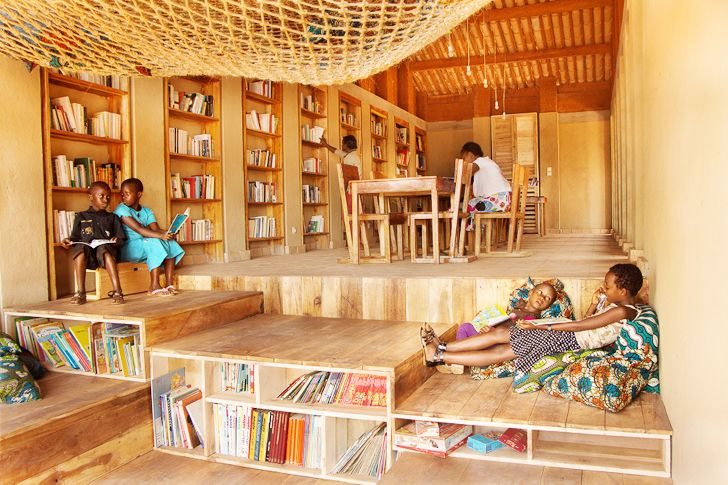 Rammed earth muyinga library provides a bright learning for Chinese furniture for sale in south africa