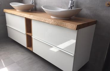 Photo of Piano lavabo rovere nodoso n. 2 in legno massello 1810x500x50 mm con bordo albero prezzo 49 …