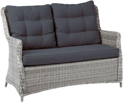 Polyrattan Sofa ´´Charme´´ 2-Sitzer grau Gr 180 x 180 Gartenmöbel