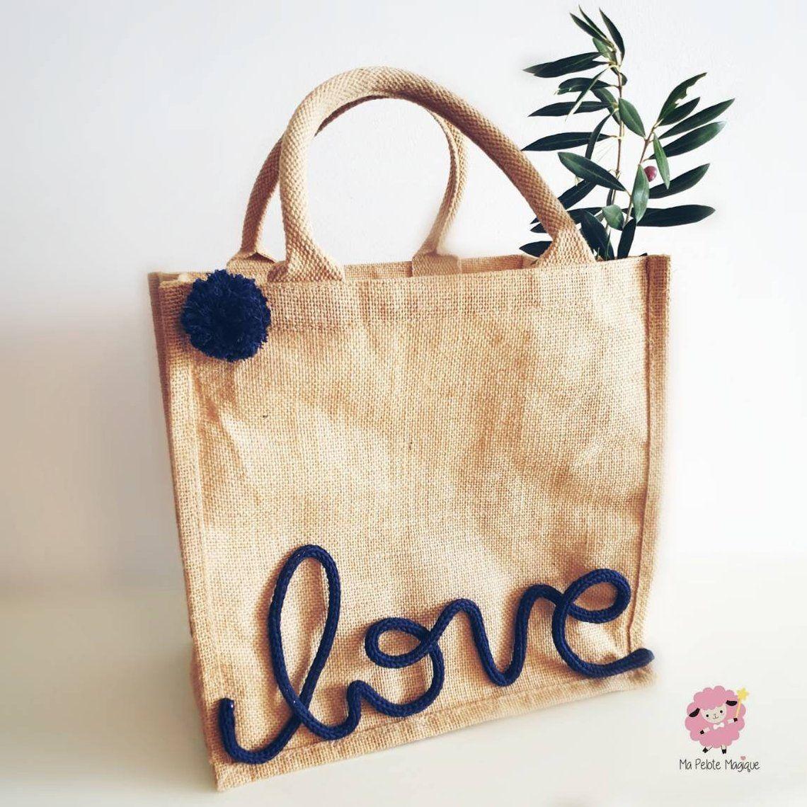 Custom Word In Knitting And Tassel And Burlap Tote Bag Sac Cabas
