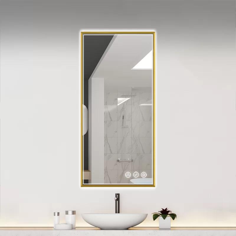 Orren Ellis Leopoulos Modern Contemporary Lighted Bathroom Mirror Reviews Wayfair In 2020 Led Mirror Gold Mirror Bathroom Mirror