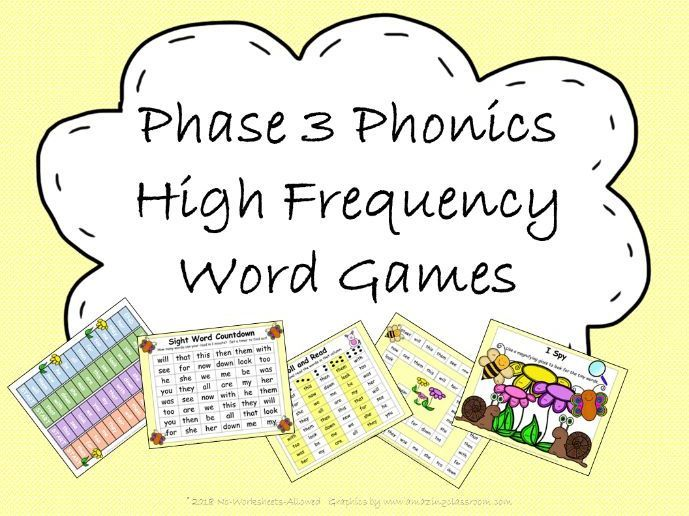 Phase 3 Phonics High Frequency Word Games
