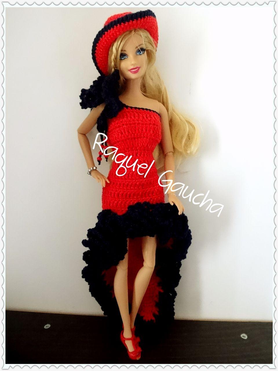 Cléa5 #Barbie #Doll #Crochet #Muñeca #Vestido #Dress #Hat #Chapéu ...