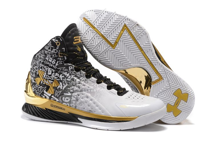 329fd60e3b0d Men s Under Armour UA Stephen Curry One MVP Pack Mid Basketball Shoes Black  White GoldWhite Black Gold