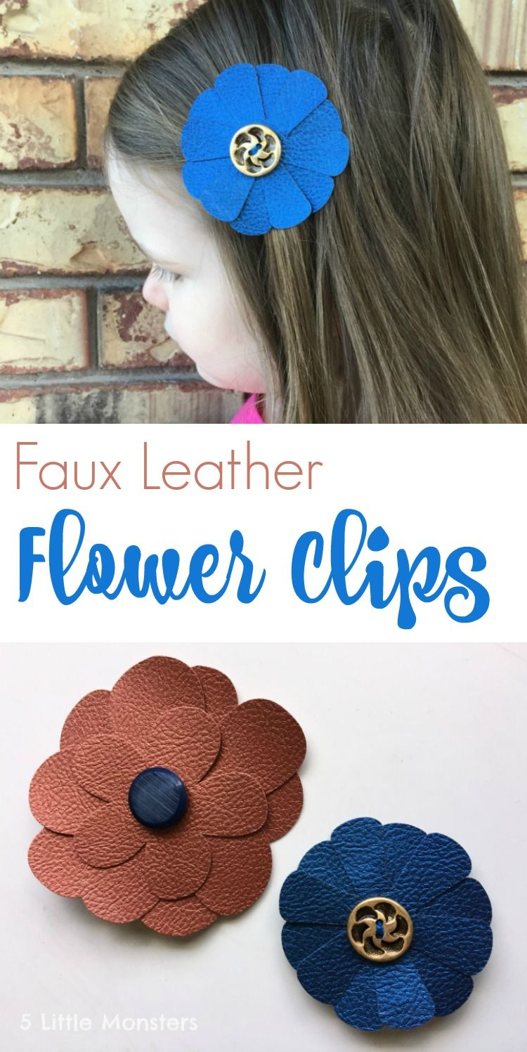 Faux leather flower clips leather flowers diy hair