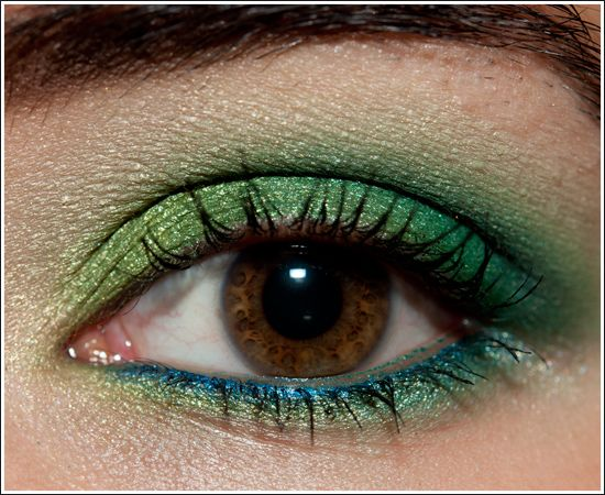 Green and blue eyeshadow