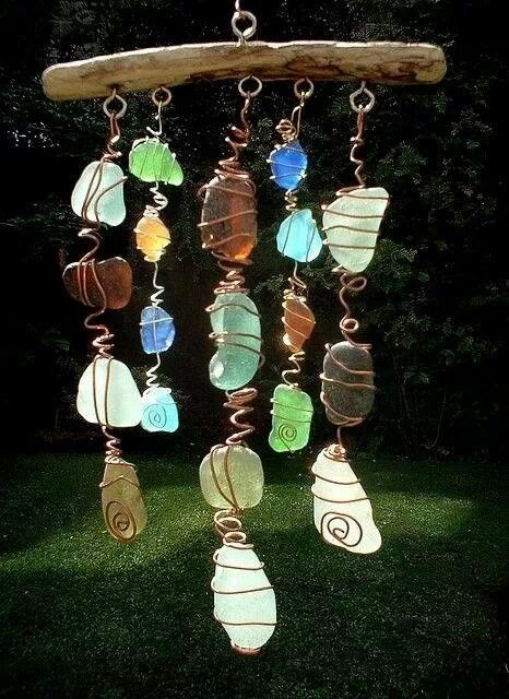 sea glass wind chime sea glass wirework pinterest deco jardins et bricolage. Black Bedroom Furniture Sets. Home Design Ideas