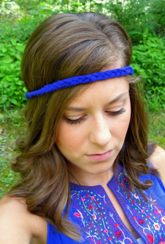 Hippie headband blue headband braided t shirt headband