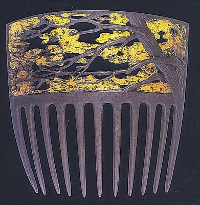 René Lalique - Rustling Tree Hair Comb. Carved Horn with Gold Leaf or Enamel. France. Circa 1900. #combs