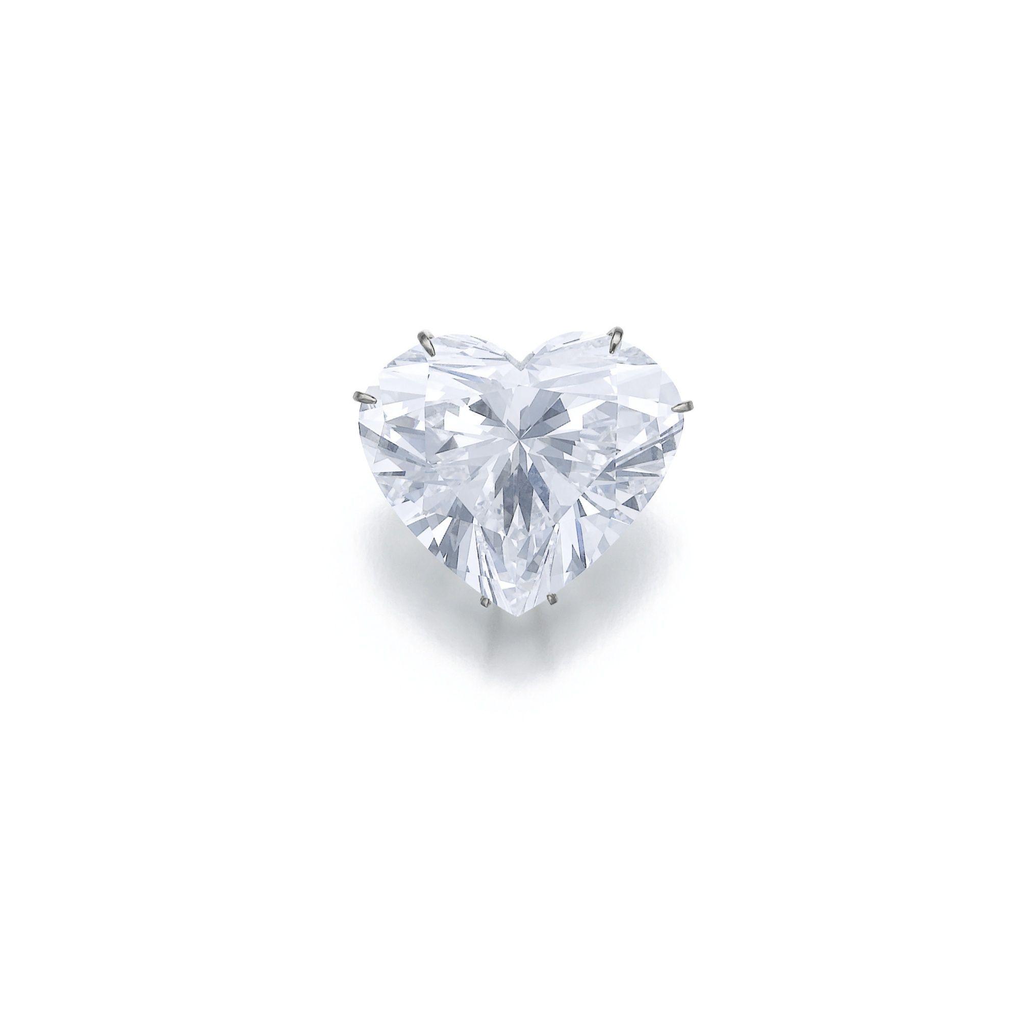 Important 53.53 carats heart-shaped diamond, D/VVS1 pendant