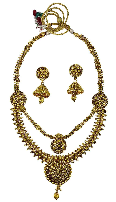 Matra 18K Goldplated Indian Women 2 Pcs Pendant Necklace Earring Set Wedding Jewellery I3sQHbPD4H