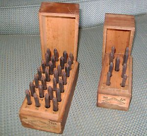 best complete letter number punch set vintage metal steel stamps wood box