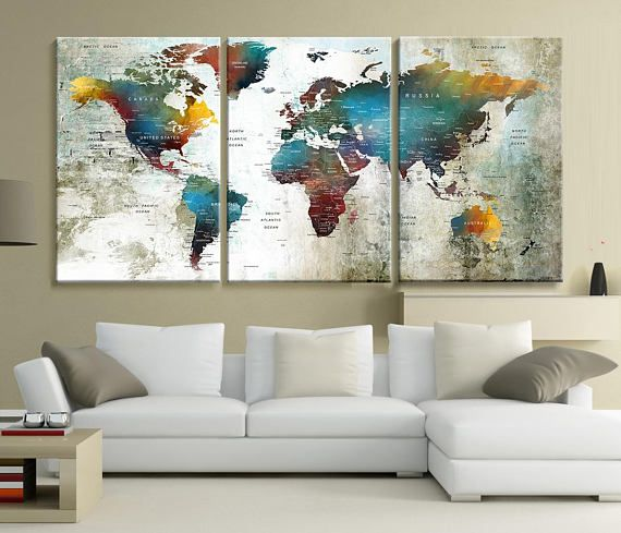 Large world map push pin wall art canvas print extra large wall large world map push pin wall art canvas print extra large wall art travel world map print world map canvas world map wall decal hr92 gumiabroncs Images