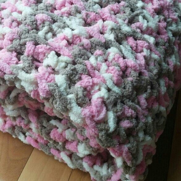 Pink and White Chenille Crocheted Baby Blanket // Made with Bernat ...